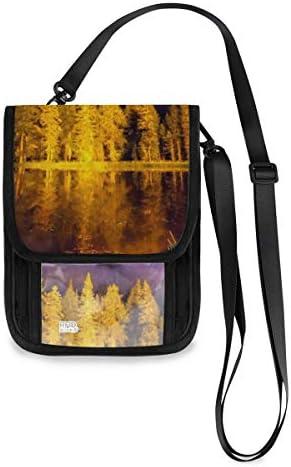 トラベルウォレット ミニ ネックポーチトラベルポーチ ポータブル 星空の下の湖 風景 小さな財布 斜めのパッケージ 首ひも調節可能 ネックポーチ スキミング防止 男女兼用 トラベルポーチ カードケース