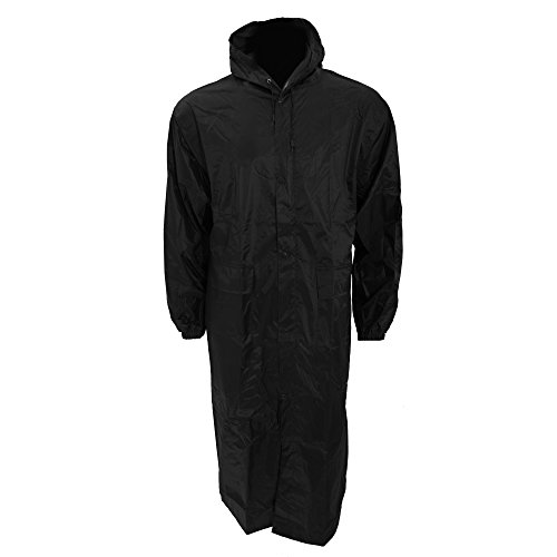Universal Textiles Mens Long Length Waterproof Hooded Coat/Jacket (L Chest: 46-49inch) - Black Long Raincoat