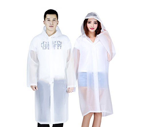 Rain Poncho Family Pack for Woman/Man Lightweight and Durable-EVA Material-Clear/White Color