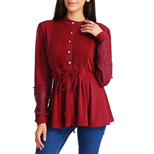 Sunhusing Women's Pleated Hollowed-Out Lace Bandage Lace-Up Waist Crinkle Chest Panel Shirt Top Blouse -