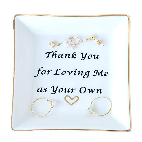 PUDDING CABIN Mother Gift Ring Dish Square Trinket Tray - Thank You for Loving Me as Your Own - Good Meanings Gift for Lover Friends and Family (Wedding Gifts For Your Best Friend)
