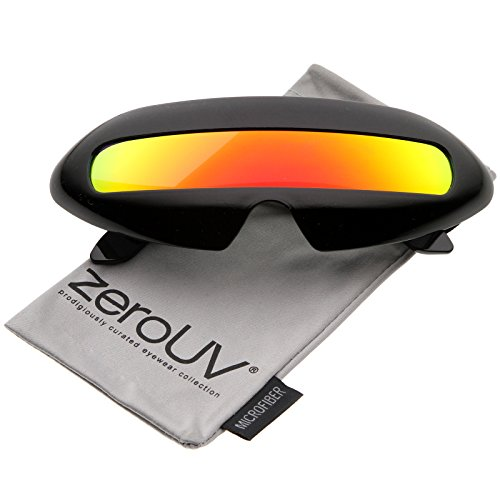 Futuristic Costume Single Shield Colored Mirror Lens Novelty Wrap Sunglasses 70mm (Black/Orange Mirror)