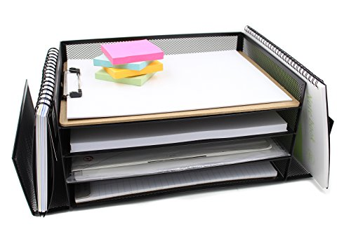 EasyPAG Mesh Desk Trays Literature Organizer 4 Horizontal an