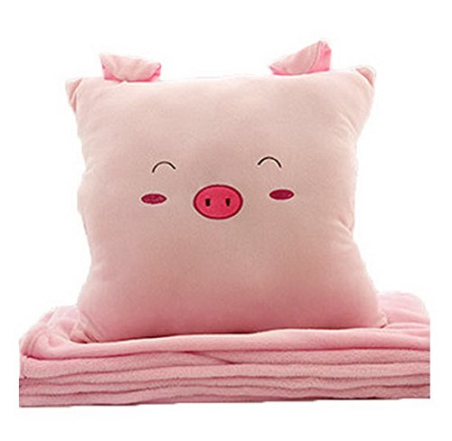 Cartoon Easily Bear Flannel Air Conditioning Blanket Warm Hand Pillow--Pig P
