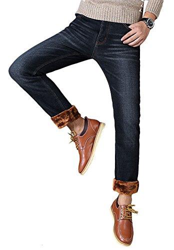 Plaid&Plain Men's Stretch Jeans Flannel Lined Jeans Slim Straight 820 Black 28 ()