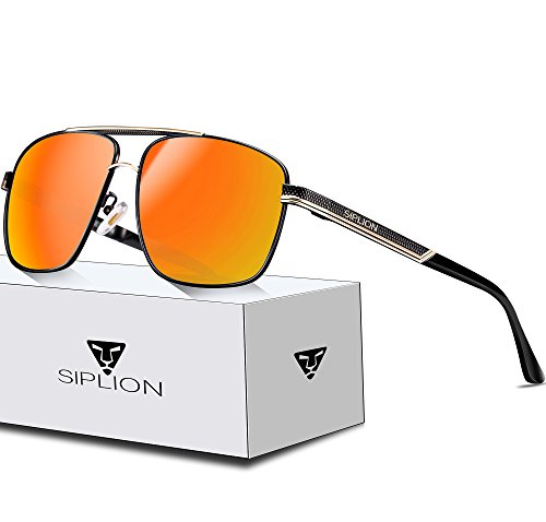 7dab751f8dc SIPLION Men s Driving Polarized Rectangular Square Sunglasses Metal Frame  Red 1823