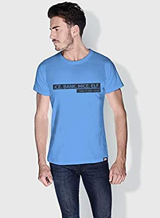 Creo Ice Bank Mice Elf Funny T-Shirts For Men - L, Blue