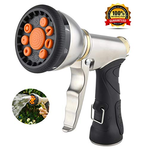 Garden Hose Nozzle Spray Nozzle Sprayer, Metal Water Hose Nozzle Heavy Duty, 9 Adjustable Patterns Pistol Grip Gun Nozzle, High Pressure Lawn Garden Sprayer for Plants, Car Wash, Cleaning, Pet Shower