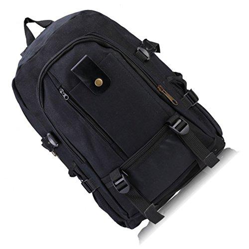Hombre mochila - SODIAL(R)Hombre retro ocio lona mochila Verde Militar Negro