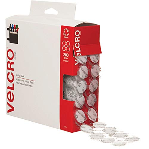 VELCRO Brand - Sticky Back Hook and Loop Fasteners | Perfect for Home or Office | 3/4in Coins | Pack of 200 | White (Renewed) (90070 Velcro)