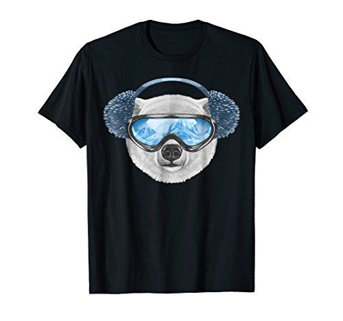 Polar Bear T Shirt Cool Bear Tshirt With Ear Muffs Goggles (Goggles Polar)