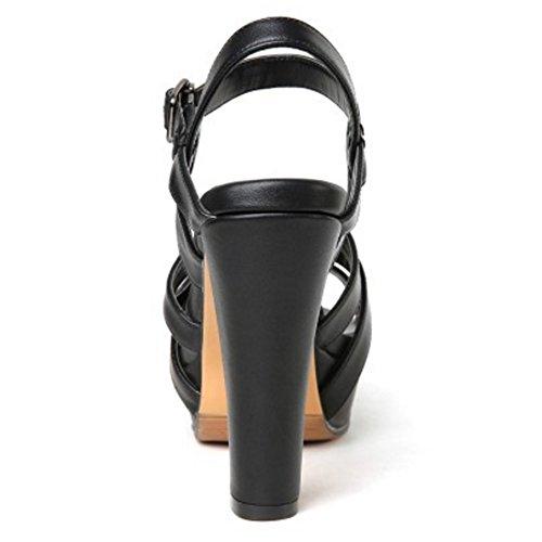 TAOFFEN Mujer Clasico Punta Abierta Sandalias Tacon Ancho Tacon Alto Plataforma Al Tobillo Zapatos Negro