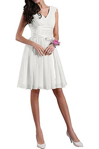 Neck Damen Ivydressing Partykleid mini Satin Linie Weiß Chiffon A aermellos V Falte Heimkehrkleid kurz Guertel einfach Cocktailkleid p0dxZqpw