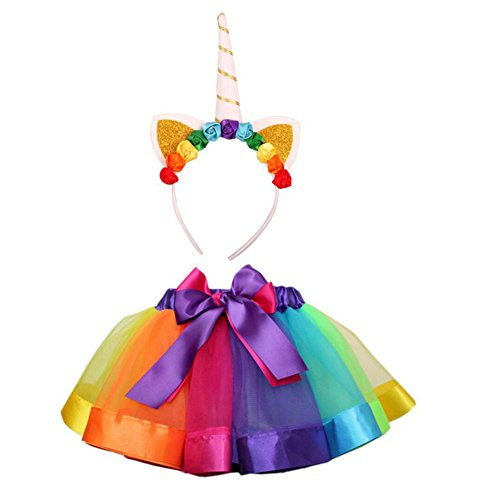AIVIAI Girls Rainbow Tutu Skirt Layered Rainbow Ribbon Tutu Dress with Unicorn Headband Tiered Ballet Dance Skirt for Toddler Baby Kids 5-8 Years(L)