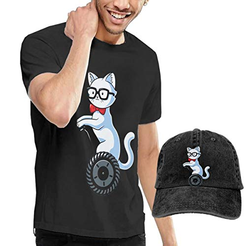 Men's Nerdy Cat Short Sleeve T Shirts Size 32 Black (With A Cap)]()