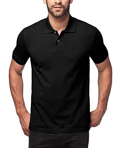 LAPASA Polo Shirt for Men, 100% Cotton, Piqué Knitted Fabric (no Jersey). Longer Back-Hem, Short Sleeve M19 (M/Chest 38-40