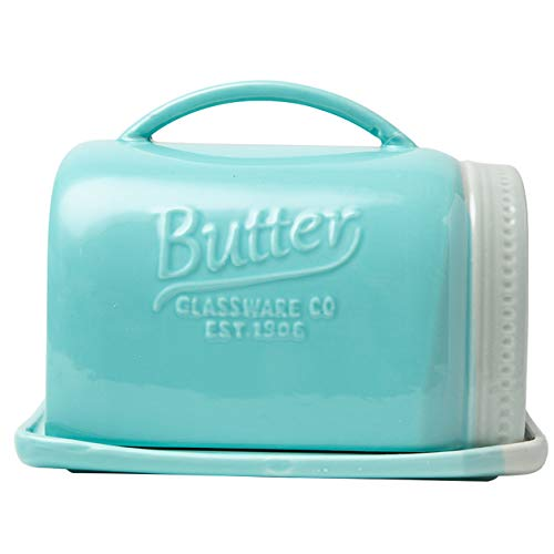 Mason Jar Ceramic Butter Dish with Lid and Handle - Vintage Ceramic Butter Holder - Decorative Butter Keeper with Rustic, Farmhouse Design - Convenient Butter Crock in Aqua Blue Color ()