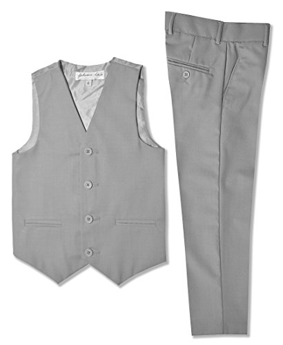 Boys Formal Vest And Pants Set #JL42 (12, Silver) by Johnnie Lene