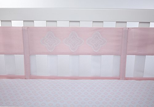 NoJo Chantilly Secure-Me Crib Liner, Pink, (Lace Flannel Bedding)
