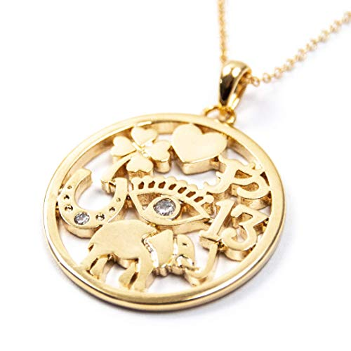 16k Gold Plated Good Luck Charm Necklace on 14k Gold Filled Chain - 16, 18, or 20 Inches Gold Lucky Charm Necklace by Miller Mae Designs ()