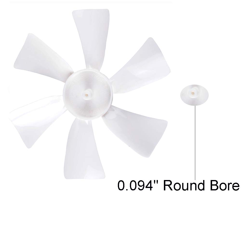2 Pack Replacement for Ventline//Jensen 0.094 Round Bore RV Bathroom Fan Blade RV Vent Fan Blade White 6 with 0.094 Round Bore