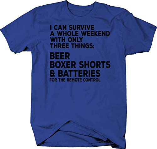 (Lifestyle Graphix Beer Boxer Shorts & Batteries for The Remote Control Weekend Plan Tshirt Medium Royal Blue)