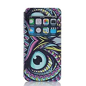 GOG Oil Painting Scrub Pattern PU Leather Cover with View Window for iPhone 6 Plus