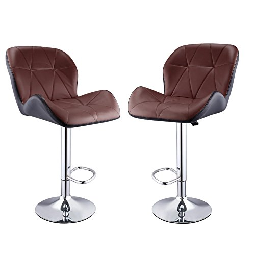 Leoneva Bar Stools Synthetic Leather Swivel Chairs Adjustable Counter Height Barstools for Home, Kitchen, Office, Set of 2, Brown (US Stock) Review
