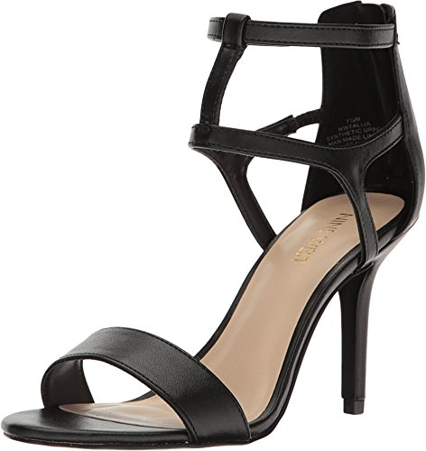 Nine West Women's Alija Leather Dress Sandal, Black, 7.5 M US 25026939