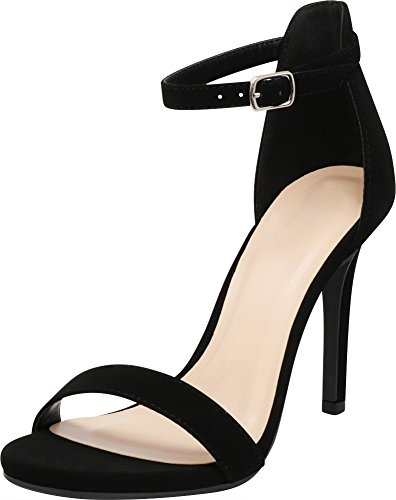 Cambridge Select Women's Open Toe Single Band Buckle Thin Ankle Strappy Stiletto High Heel Dress Sandal (6 B(M) US, Black NBPU)
