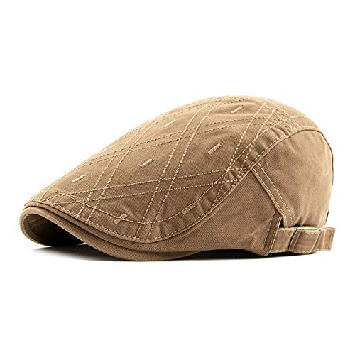 Men Women Spring Summer Cotton Plaid Newsboy Cap Hat Visor Gatsby Berets Ivy Flat British Style,Khaki,56-60cm