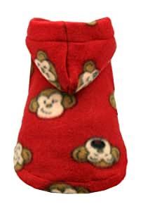 Hip Doggie Red Monkey Polar Fleece Hoodie, Large