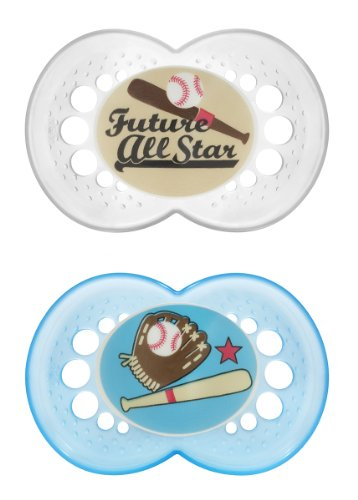 MAM Sports Orthodontic Pacifier, Baseball, 6+ Months, 2-Count