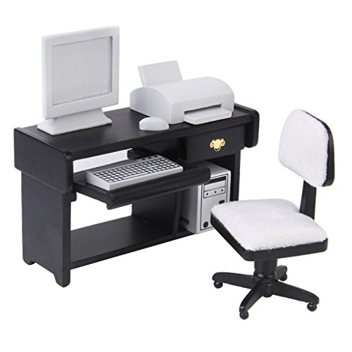 SM SunniMix 1/12 Dollhouse Wooden Furnishings, Computer Set (Include Computer, Swivel Chair, Desk, Printer), Dollhouse Office Study Room Furniture Set