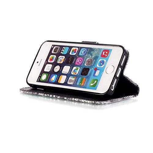 """ZXLZKQ pour iPhone 6 6s 4.7"""" Étui Cartoon Fleur De Plumes Ripple Noir PU Cuir 3D Bling Portefeuille Flip Magnétique Lanyard Housse Case Coque pour Apple iPhone 6 6s 4.7"""" (non applicable iPhone 6 Plus)"""