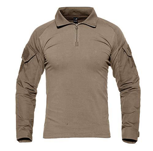 KEFITEVD Chemise de Combat Homme Chemise Camouflage Militaire Tactique T-Shirt Slim Fit Chemise à Manches Longues 2