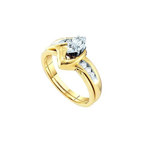 10kt Yellow Gold Womens Marquise Diamond Bridal Wedding Engagement Ring Band Set 1/4 Cttw by JawaFashion