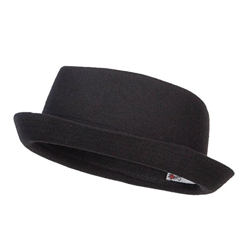 Wool Upbrim Pork Pie Fedora - Black L-XL Mens Pork