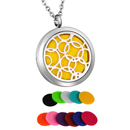 HooAMI Aromatherapy Essential Oil Diffuser Necklace Circles Round Stainless Steel Locket Pendant -