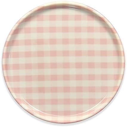 タツクラフト ST ランチョン トレー 丸 ミルキー チェック ピンク 食洗機対応 プラスチック おしゃれ 丸い