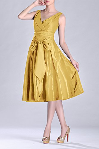 Taffeta bridesmaids Tea Pleated neck V Modest Formal line A Goldfarben Length Bridesmaid Dress SWaW0x