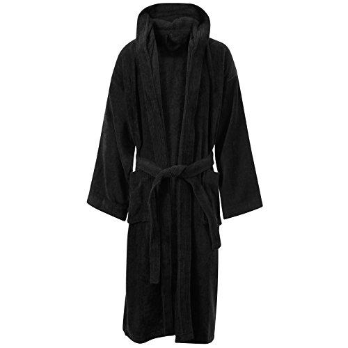 My de zapato de store 100% algodón egipcio de muy suave de toalla de bata para baño TERRY albornoces Black / Hooded
