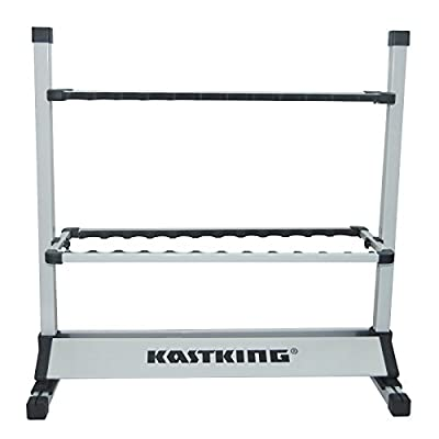 Upgraded Model and New Packaging! KastKing Rack 'em up Fishing Rods Holder Portable Aluminum 12-24 Fishing Rod Racks Great for Storing Fishing Poles on Boat, Truck, RV at Home or in Garage