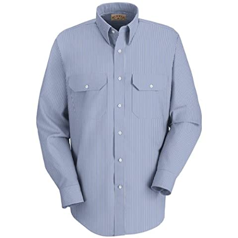 Men's Red Kap Long Sleeve Deluxe Uniform Shirt Extra Tall, WHT/BLUE PINSTRIPE, XL/X-TALL - Deluxe Blue Shirt