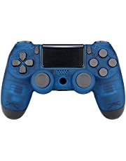 eXtremeRate Foggy Clear Blue Faceplate Cover, Soft Touch Front Housing Shell Case, Comfortable Replacement Kit for PS4 Slim Pro Controller JDM-040 JDM-050 JDM-055 Controller - Controller NOT Included