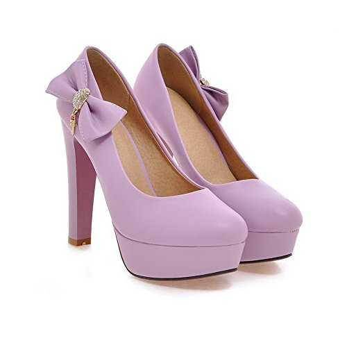 BalaMasa da donna a punta rotonda Olid Pull-On hi-face pumps-shoes, Viola (Purple), 35