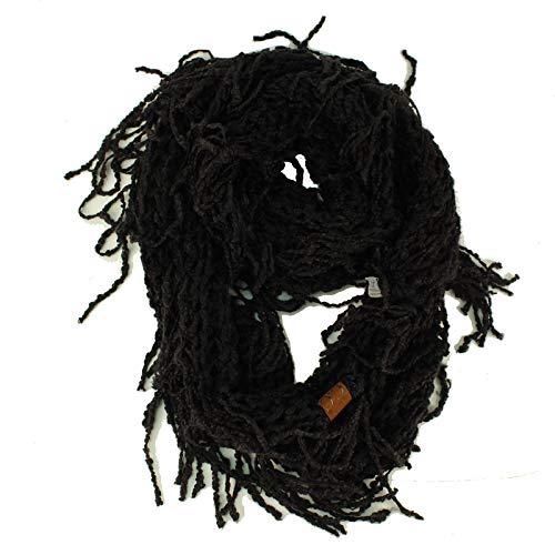 CC BEANIE Winter Soft Chenille Net Tassle Fringe Thick Knit Infinity Scarf Wrap Black