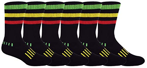 Rasta Stripe - MOXY Socks 6-Pack Rasta! Triple Stripe Performance Crew Socks