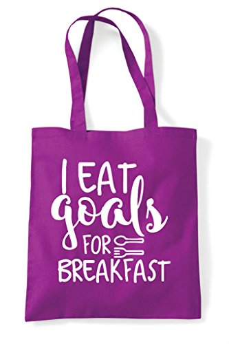 Goals Sport Football Magenta Tote I Shopper Bag Eat Breakfast For Sa5UR