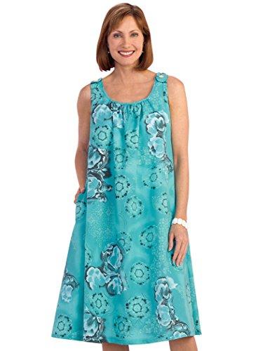 AmeriMark Sleeveless Muumuu with Pockets Plus Size - Dress Woven Cotton